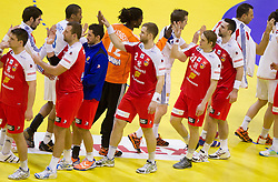 Players of France and Iceland after the handball match between France and Iceland in  Main Round of 10th EHF European Handball Championship Serbia 2012, on January 25, 2012 in Spens Hall, Novi Sad, Serbia. (Photo By Vid Ponikvar / Sportida.com)