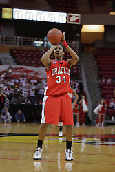 26 February 2009: Raisa Taylor at the line.  The Braves of Bradley  and the Illinois State Redbirds battled it out on Doug Collins Court inside Redbird Arena on the campus of Illinois State University, Normal Il.