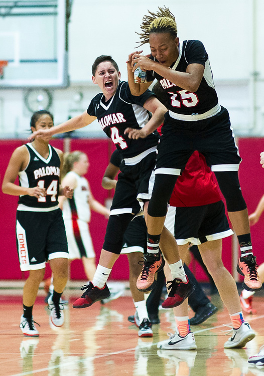 Happiness from Palomar College Comets player no 4 Ariana Hernandez and her friend<br /> <br /> <br /> Shoot by Joakim Ahlstrom, Sport Shooter Academy