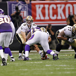 September 9, 2010; New Orleans, LA, USA;  New Orleans Saints quarterback Drew Brees (9) under center against the Minnesota Vikings during the fourth quarter of the NFL Kickoff season opener at the Louisiana Superdome. The New Orleans Saints defeated the Minnesota Vikings 14-9.  Mandatory Credit: Derick E. Hingle