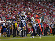 San Francisco 49ers wide receiver Malik Henry (7) jumps to catch the ball as Los Angeles Chargers safety Nasir Adderley (32) and Nick Dzubnar (48) defend, during an NFL football game, Thursday, Aug. 29, 2019, in Santa Clara, Calif. (Dylan Stewart/Image of Sport)
