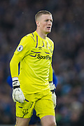 Jordan Pickford (GK) (Everton) during the Premier League match between Brighton and Hove Albion and Everton at the American Express Community Stadium, Brighton and Hove, England on 26 October 2019.