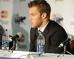 Taylor Hall of the Windsor Spitfires at the Canadian Hockey League media conference at the MasterCard Memorial Cup in Brandon, MB on Friday. Photo by Aaron Bell/CHL Images