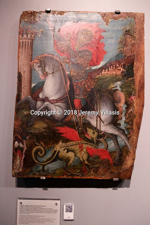 St. George on horseback slaying the dragon by Georgios Klontzas who introduces Italian Mannerism into Cretan painting. (second half of 16th century). Benaki Museum, Athens.