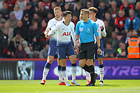 Football - 2018 / 2019 Premier League - AFC Bournemouth vs. Tottenham Hotspur<br /> <br /> Son Heung-min of Tottenham express his innocence to Referee Craig Pawson after his red card at the Vitality Stadium (Dean Court) Bournemouth <br /> <br /> COLORSPORT/SHAUN BOGGUST