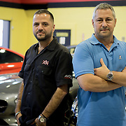 DORAL, FLORIDA, DECEMBER 11, 2015<br /> Alex Vega, left, owner of The Auto Firm, a South Florida car customizing and restoring shop which has a vast clientele of professional athletes and entertainers, and Frank Torres, owner of The Garage, an exclusive auto dealer featuring extremely luxurious cars and vintage hard to find vehicles. The two have partnered to cater to athletes and entertainers.<br /> (Photo by Angel Valentin/Freelance)