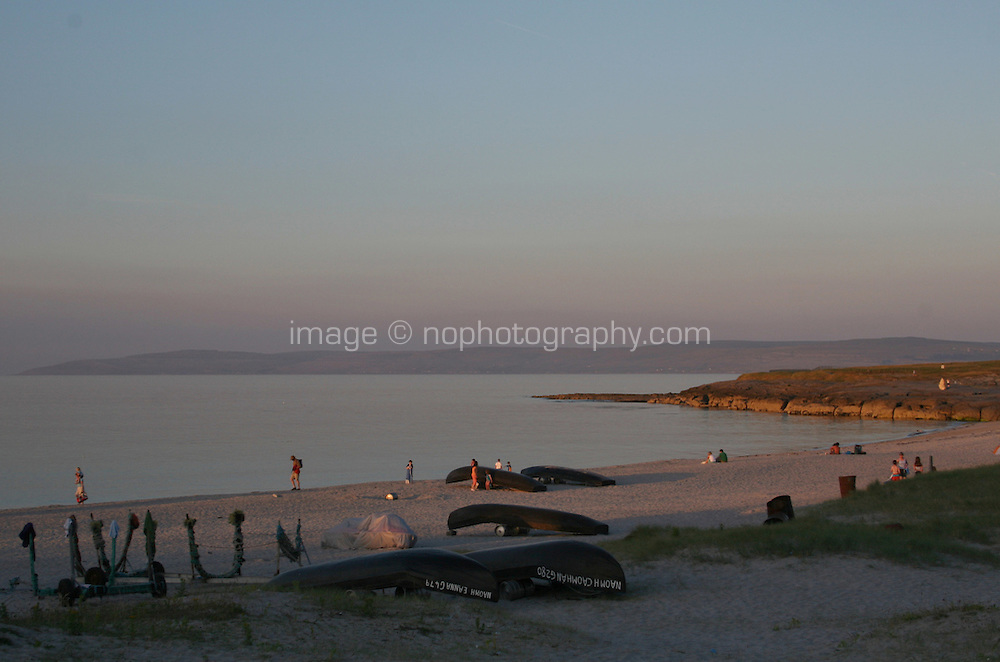 evening light on the beach at Inis Oirr the Aran Islands Galway Ireland