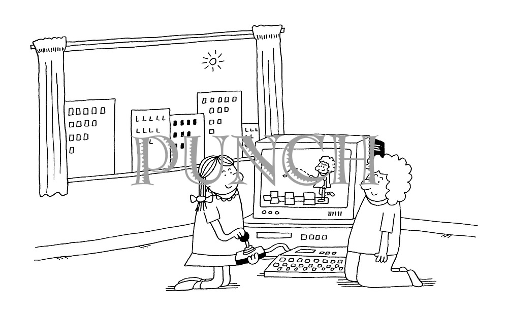 (children playing virtual hop-scotch on computer)
