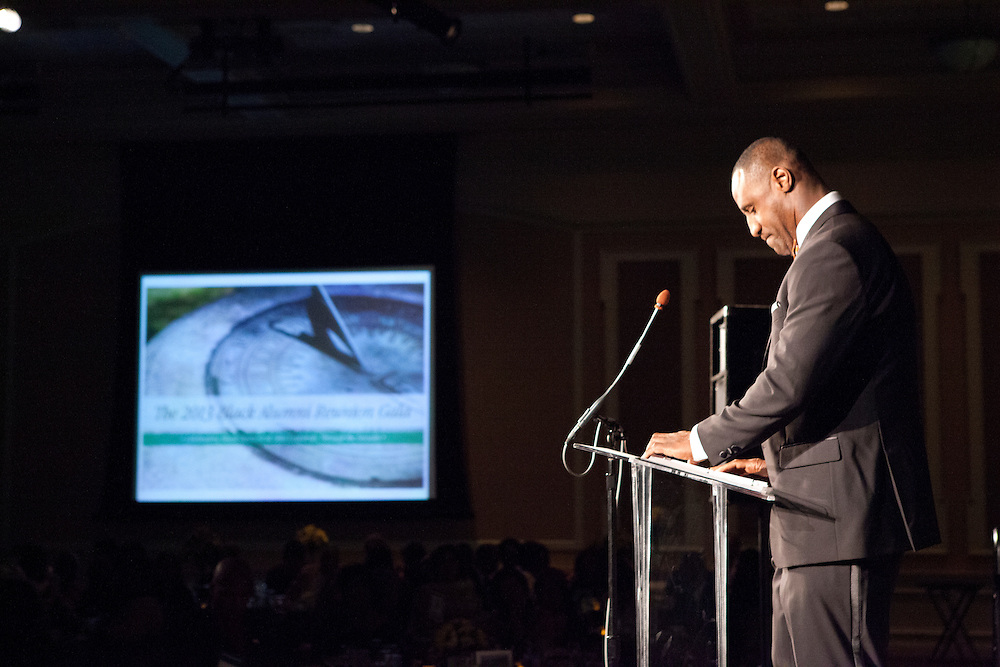 """Dell Robinson at """"Celebrating Black Heritage at Ohio University Through the Decades"""" at the Black Alumni Reunion Gala in Baker Center on September 28, 2013."""