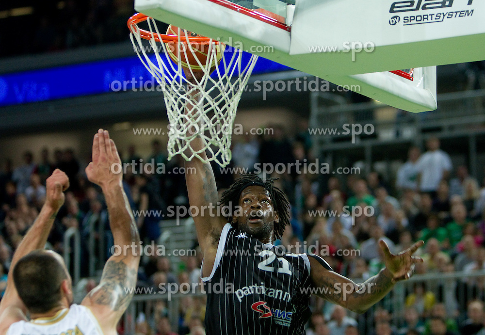 James Gist of Partizan during final match of Basketball NLB League at Final four tournament between KK Union Olimpija (SLO) and Partizan Belgrade (SRB), on April 21, 2011 in Arena Stozice, Ljubljana, Slovenia.  (Photo By Vid Ponikvar / Sportida.com)