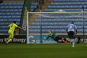 Southend United forward David Mooney scores past Coventry City goalkeeper Lee Burge to take Southend into the lead from the penalty spot during the Sky Bet League 1 match between Coventry City and Southend United at the Ricoh Arena, Coventry, England on 31 August 2015. Photo by Simon Davies.