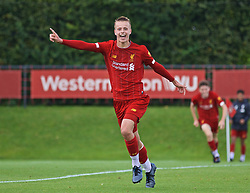 KIRKBY, ENGLAND - Saturday, August 31, 2019: Liverpool's Niall Brookwell celebrates scoring the third goal during the Under-18 FA Premier League match between Liverpool FC and Manchester United at the Liverpool Academy. (Pic by David Rawcliffe/Propaganda)