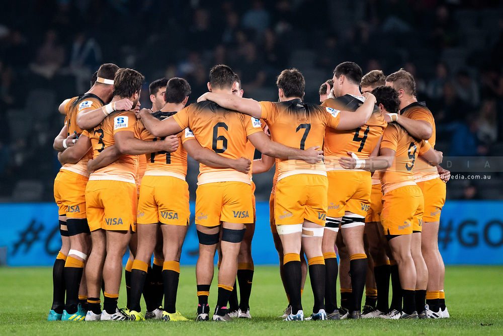 SYDNEY, AUSTRALIA - MAY 25: Jaguares stand in a huddle at week 15 of Super Rugby between NSW Waratahs and Jaguares on May 25, 2019 at Western Sydney Stadium in NSW, Australia. (Photo by Speed Media/Icon Sportswire)