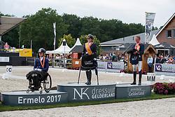 Podium Para Dressuur, Voets Sanne, Hosmar Frank, Den Dulk Nicole, NED<br /> Nederlands Kampioenschap Dressuur <br /> Ermelo 2017<br /> © Hippo Foto - Dirk Caremans<br /> 15/07/2017