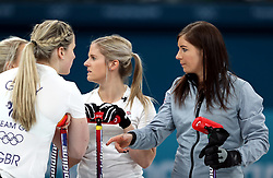 Great Britain's Eve Muirhead (right) during the Women's Round Robin Session 1 match against Olympic Athletes from Russia at the Gangneung Curling Centre during day five of the PyeongChang 2018 Winter Olympic Games in South Korea.
