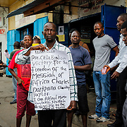 A Charles Taylor supporter anticipates the ex-warlord's acquittal. Monrovia, Liberia, April 2012.