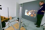 Vienna, Austria. Veterinärmedizinische Universität Wien (Vetmeduni Vienna).<br /> German shepherd Theo at the Clever Dog Lab.