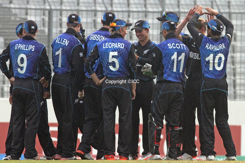 New Zealand celebrate.<br /> New Zealand v India, ICC U19 Cricket World Cup at Mirpur, Bangladesh. 30 January 2016.<br /> India beat New Zealand by 120 runs.<br /> Photo: &copy;ICC