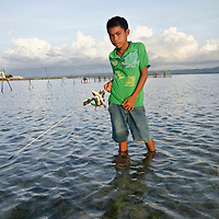 Boy with fish speared in th eseagrass shallows; Batasan Island; Danajon Bank, Bohol, Philippines © Michael Ready / iLCP