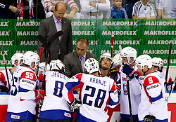 Nik Zupancic, assistant coach of Slovenia and Matjaz Kopitar, head coach of Slovenia during ice-hockey match between Austria and Slovenia of Group G in Relegation Round of IIHF 2011 World Championship Slovakia, on May 7, 2011 in Orange Arena, Bratislava, Slovakia. Austria defeated Slovenia 3-2. (Photo By Vid Ponikvar / Sportida.com)