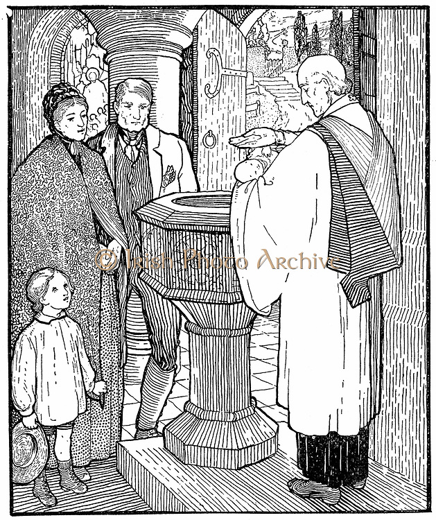 Artisan family having their child baptised.  Priest at font makes the sign of cross with water on infant's head while mother, father and sibling look on. Illustation for the poem 'Holy Baptism' by Mrs Cecil Frances Alexander (nee Humphreys) 1818-1895.
