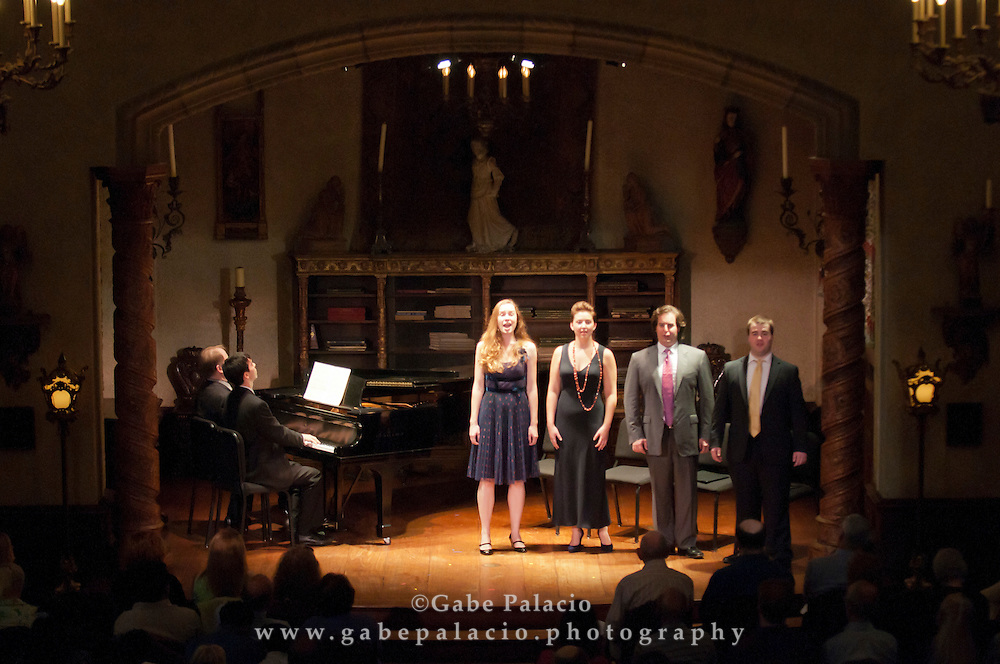The Future is Now performance featuring Charlotte Dobbs, soprano; Tynan Davis, mezzo-soprano; Rolando Sanz, tenor; Scott Purcell, baritone; Will Crutchfield and Julius Abrahams, piano 4-hands;.Ben Beilman, violin; Alice Yoo, cello; Roman Rabinovich, piano, in the Music Room of the Rosen House at Caramoor in Katonah, New York on September 25, 2011..(Photo by Gabe Palacio)