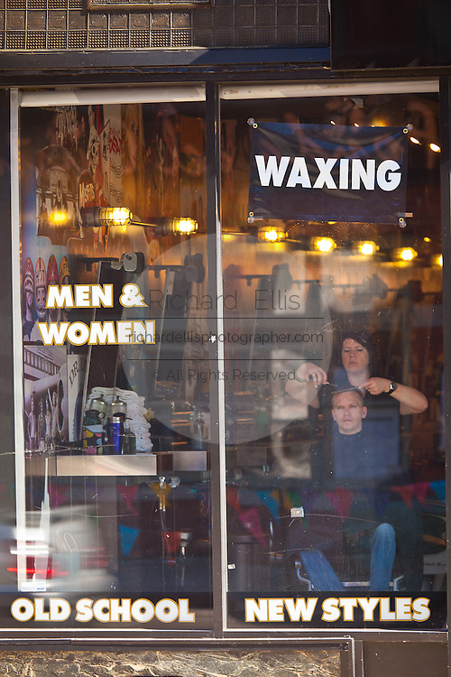 An old fashion barbershop in the hip neighborhood of Wicker Park in Chicago, IL, USA.