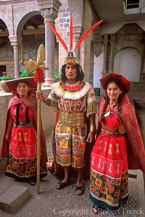 PERU, CUZCO, INCA Coricancha Sun Temple; Inca ceremony