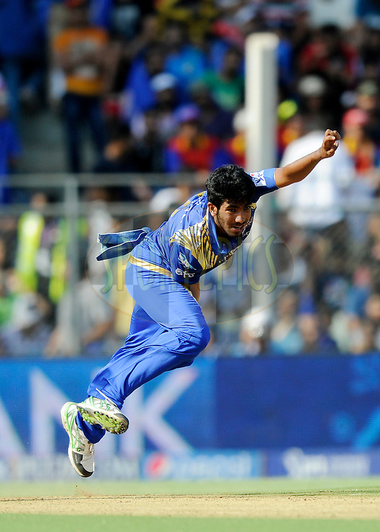 Jasprit Bumrah of Mumbai Indians bowls during match 46 of the Pepsi IPL 2015 (Indian Premier League) between The Mumbai Indians and The Royal Challengers Bangalore held at the Wankhede Stadium in Mumbai, India on the 10th May 2015.<br /> <br /> Photo by:  Pal Pillai / SPORTZPICS / IPL