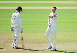 Craig Overton of Somerset reacts to a chance.  - Mandatory by-line: Alex Davidson/JMP - 04/08/2016 - CRICKET - The Cooper Associates County Ground - Taunton, United Kingdom - Somerset v Durham - County Championship