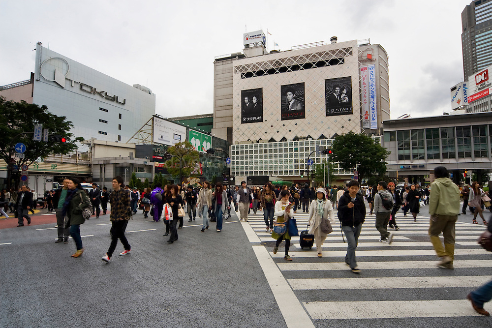 Scramble crossing at Hachiko Square Shibuya, reportedly the world's busiest pedestrian crossing. It's surrounded by video screens, giving a very bladerunner feel. It's overlooked by one of the busiest Starbucks cafes in the world. The crossing also features in a scene from Lost in Translation with Bill Murray and Scarlet Johansson.