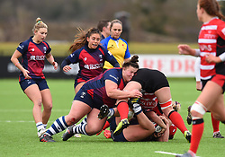 Ellie Mulhearn of Bristol Bears Women tackles a Gloucester-Hartpury Women player - Mandatory by-line: Paul Knight 12/2019 - RUGBY - Shaftesbury Park - Bristol, England - Bristol Bears Women v Gloucester-Hartpury Women - Tyrrells Premier 15s