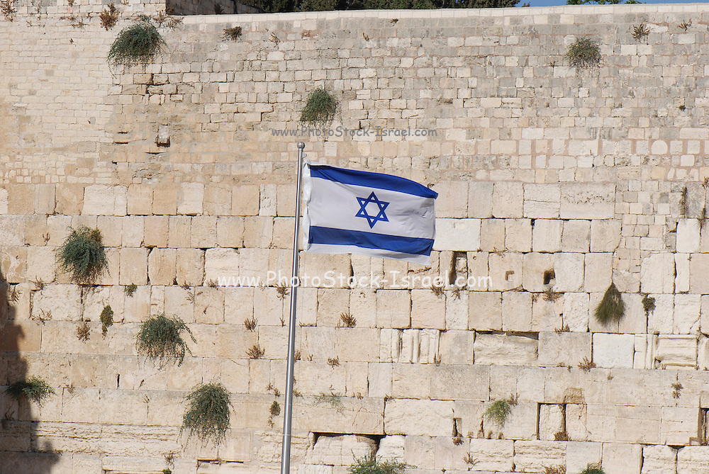 Israel, Jerusalem old city the wailing wall The Israeli flag