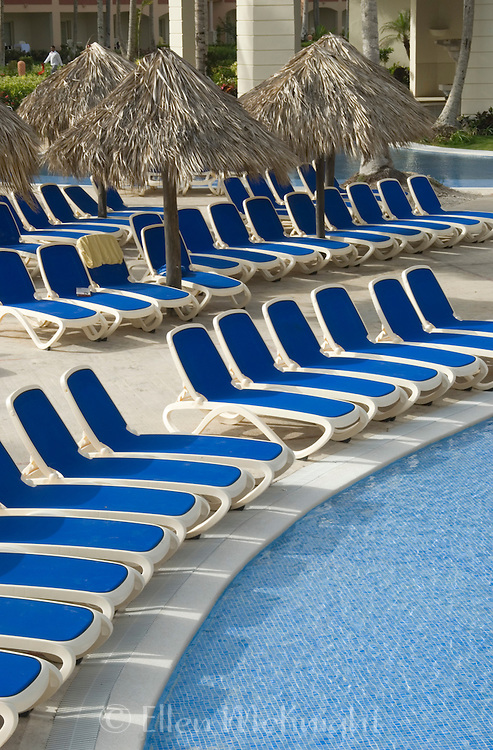 Beach Chairs lined up at a Resort in Punta Cana