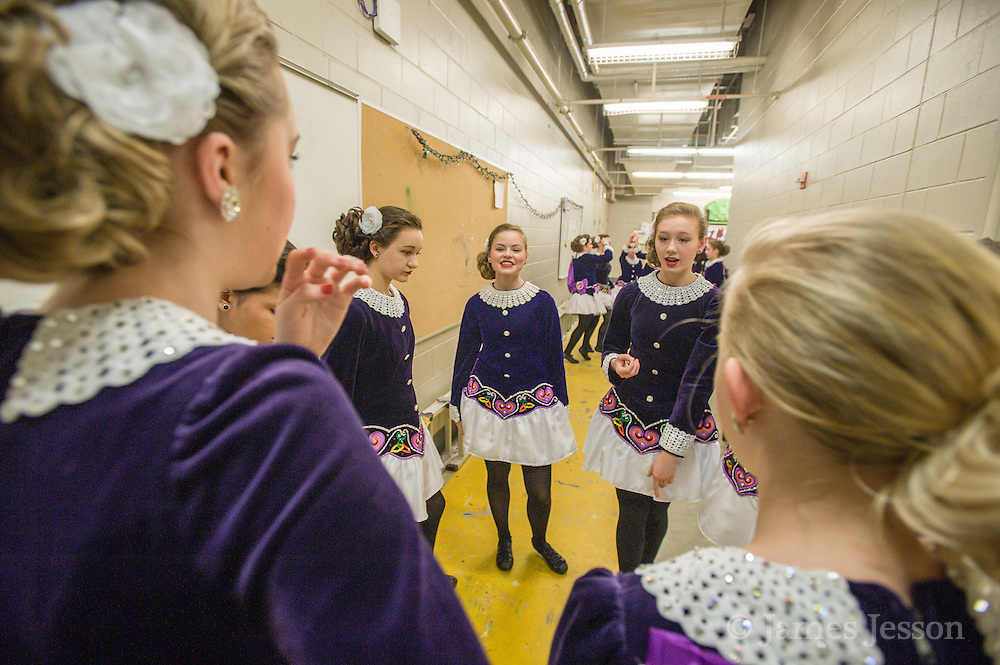 Dancers practice backstage during a Worlds Preview Party at Chelmsford High School featuring dancers who have qualified for the Irish Dance World Championships in Montreal, Mar. 21, 2015.   (Wicked Local Photo/James Jesson).