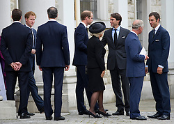 (L-R) Prince Harry, Duke of Cambridge, Camilla, Duchess of Cornwall, William Van Cutsem, Charles, Prince of Wales and Hugh Van Cutsem, attends the funeral of Hugh van Cutsem. Hugh, a former officer in the Household Cavalry, had been close friends with Prince Charles since their days together at Cambridge University, United Kingdom. Wednesday, 11th September 2013. Picture by i-Images