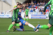 Dannie Bulman midfielder of AFC Wimbledon (4) and Hartlepool United midfielder Lewis Hawkins (18) tussle during the Sky Bet League 2 match between Hartlepool United and AFC Wimbledon at Victoria Park, Hartlepool, England on 25 March 2016. Photo by Stuart Butcher.