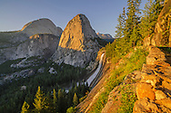 Sunset light on Liberty Cap, Half Dome, and Nevada Fall along the Grand Staircase of the Merced River, Yosemite National Park, California