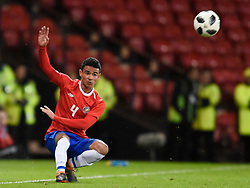 Costa Rica's Ian Smith in action during the international friendly match at Hampden Park, Glasgow. RESTRICTIONS: Use subject to restrictions. Editorial use only. Commercial use only with prior written consent of the Scottish FA.