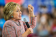 Hillary Clinton, presumptive 2016 Democratic presidential nominee, campaigns with Senator Tim Kaine (D-VA) (not pictured) at Northern Virginia Community College in Annandale, Va., U.S., on Thursday, July 14, 2016. Clinton and the former Virginia Governor discussed their shared commitment to building an America that is stronger together, while emphasizing that Donald Trump's divisive agenda would be dangerous for America. Kaine is considered to be the frontrunner for the Vice Presidential slot. Photographer: Pete Marovich/Bloomberg