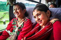 Local women on a public bus in Panauti