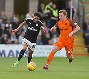August 9th 2017, Dens Park, Dundee, Scotland; Scottish League Cup Second Round; Dundee versus Dundee United; Dundee's Faissal El Bakhtaoui races past Dundee United's Fraser Fyvie