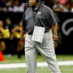 September 23, 2012; New Orleans, LA, USA; Kansas City Chiefs head coach Romeo Crennel during the third quarter of a game against the New Orleans Saints at the Mercedes-Benz Superdome. The Chiefs defeated the Saints 27-24 in overtime. Mandatory Credit: Derick E. Hingle-US PRESSWIRE