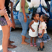 Riace, Calabria, Italia, aug. 2010. Refugees received in Riace. Riace il paese che accoglie rifugiati. Anna and Feven.