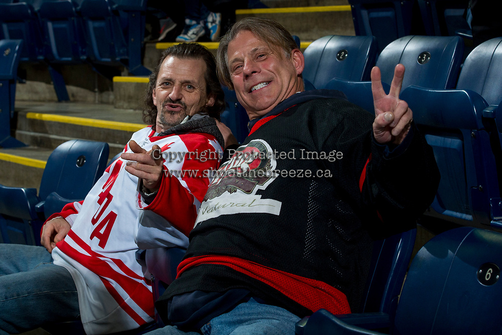 KELOWNA, CANADA - MARCH 7: Fans post for a photo at the Kelowna Rockets against the Vancouver Giants on March 7, 2018 at Prospera Place in Kelowna, British Columbia, Canada.  (Photo by Marissa Baecker/Shoot the Breeze)  *** Local Caption ***