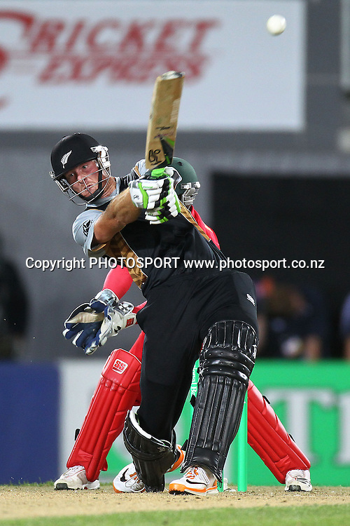 NZ's Martin Guptill. New Zealand Black Caps v Zimbabwe, International Twenty-20 at Eden Park, Auckland, New Zealand. Saturday 11th February. Photo: Anthony Au-Yeung / photosport.co.nz
