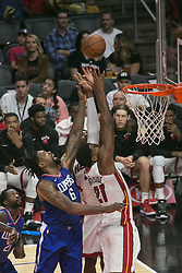 November 5, 2017 - Los Angeles, California, United States of America - DeAndre Jordan #6 of the Los Angeles Clippers and Hassan Whiteside #21 of the Miami Heat during their NBA game on Sunday November 5, 2017 at the Staples Center in Los Angeles, California. Clippers lose to Heat 101-104. ARIANA RUIZ/PI (Credit Image: © Prensa Internacional via ZUMA Wire)