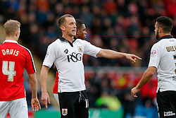 Aaron Wilbraham of Bristol City points - Photo mandatory by-line: Rogan Thomson/JMP - 07966 386802 - 20/12/2014 - SPORT - FOOTBALL - Crewe, England - Alexandra Stadium - Crewe Alexandra v Bristol City - Sky Bet League 1.