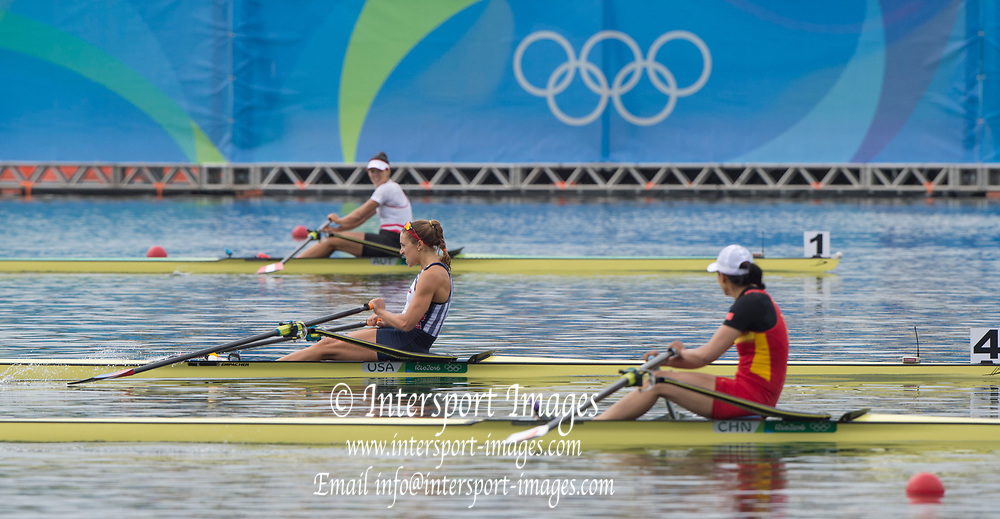 Rio de Janeiro. BRAZIL centre USA W1X, Gevvie STONE, <br /> 2016 Olympic Rowing Regatta. Lagoa Stadium,<br /> Copacabana,  &ldquo;Olympic Summer Games&rdquo;<br /> Rodrigo de Freitas Lagoon, Lagoa. Local Time 10:27:41  Friday  12/08/2016<br /> [Mandatory Credit; Peter SPURRIER/Intersport Images]