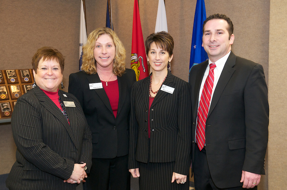Team Lorain County Staff, Chris Kish, Pam Fechter, Mary Cierebiej, and Steve Morey at the 5th Annual Groundhog Day Economic Development Breakfast at Lorain County JVS on Feb. 4, 2011.
